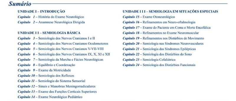 semiologia neurologica - sumario
