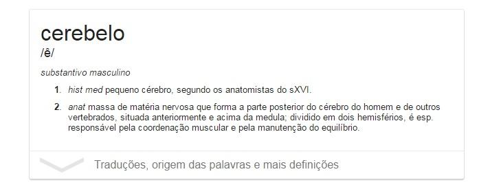 Google definição cerebelo